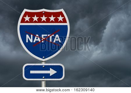 North American Free Trade Agreement sign Red white and blue interstate highway road sign with words NAFTA marked out with stormy sky background 3D Illustration