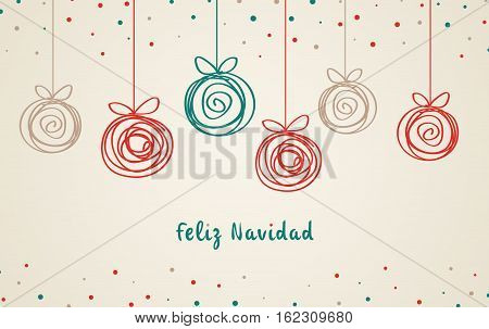 Feliz Navidad, doodle christmas balls, abstract drawn spiral,