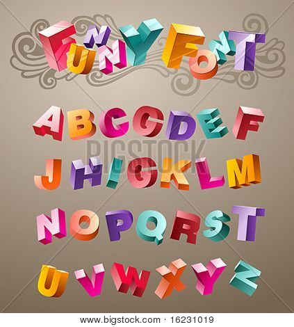 bright funny font design alphabet. in vector
