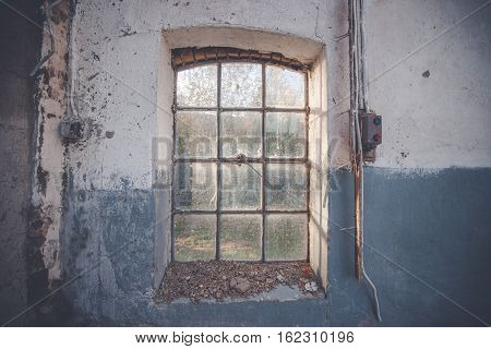 Dirty Old Window On A Grunge Wall