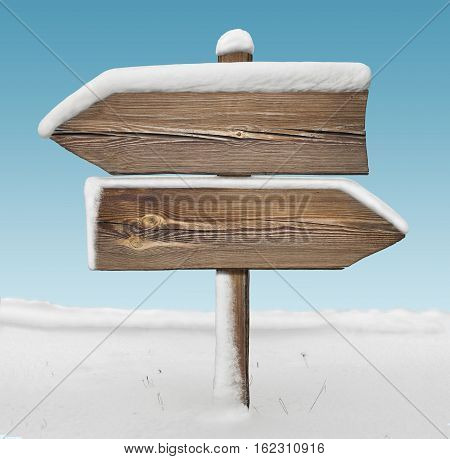 Wooden Direction Sign With Less Snow And Sky Bg. Two_arrows-opposite_directions