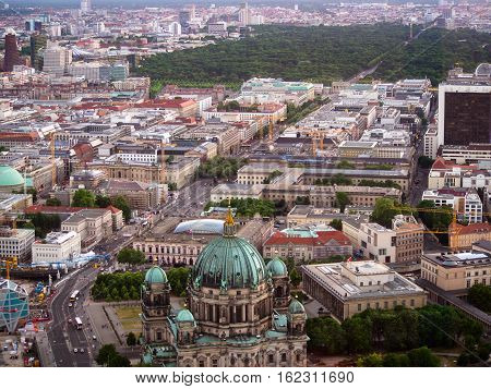 June 16 2015. Aerial view of downtown Berlin with the Berlin Cathedral Tiergarten and the Brandenburg gate in sight. Travel and tourism concept.
