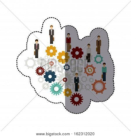 Gear and businesspeople icon. Teamwork people corporate and workforce theme. Isolated design. Vector illustration