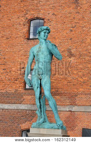 Copy of Michelangelo's David statue in Copenhagen Denmark