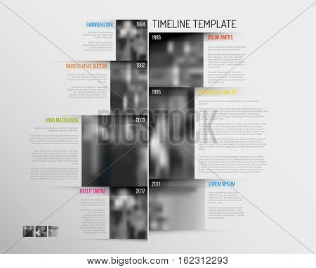 Vector Infographic Company Milestones Timeline Template with big rectangle photo placeholders and shadow effects - vertical version