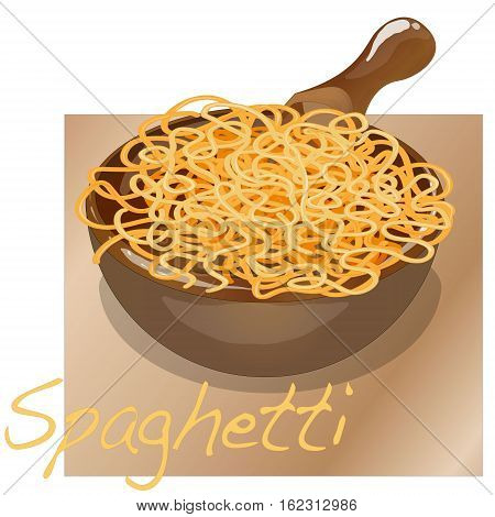 Pasta. Spaghetti. Spaghetti in plate without sauce.