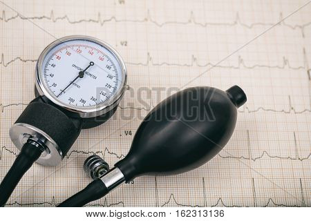 A Blood pressure manometer on a cardiogram