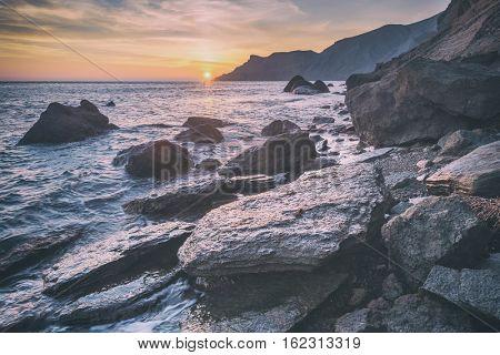 Black sea landscape in Crimea, toned like Instagram filter