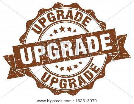 upgrade. stamp. sign. seal. round. retro. ribbon