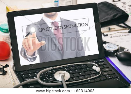 Erectile Dysfunction Written On A Computer's Screen