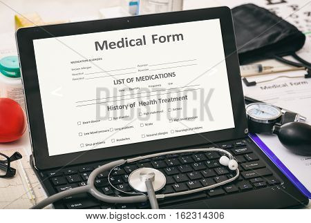 Medical Form On A Doctor's Computer Screen