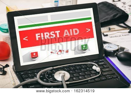First Aid Written On A Doctor's Computer Screen