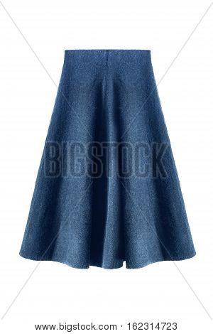 Wool flared knee length blue skirt on white background