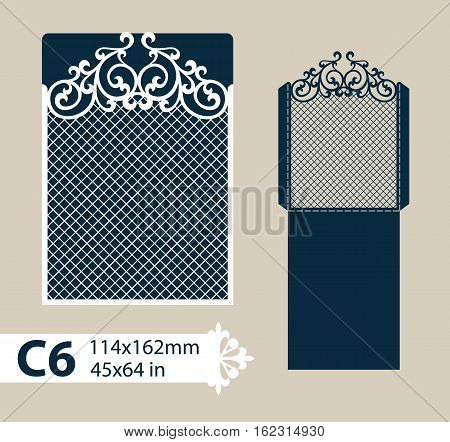 Layout congratulatory envelope with carved openwork pattern. The template for greetings invitations etc. Picture suitable for laser cutting plotter cutting or printing. Vector