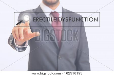 Man Pointing At Word Erectile Dysfunction On White Background