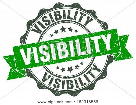 visibility. stamp. sign. seal. round. retro. ribbon