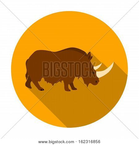 Woolly rhinoceros icon in flat style isolated on white background. Stone age symbol vector illustration.