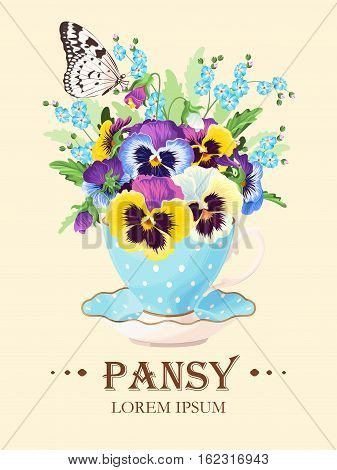 Vector greeting card with pansies in vintage teacup