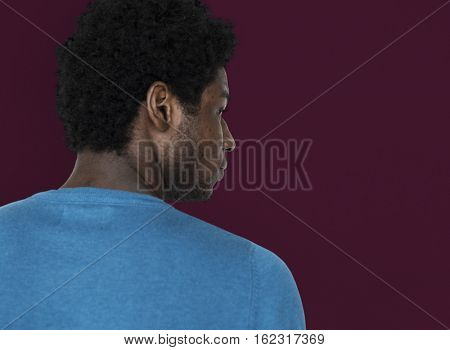 African Descent Serious Looking Back Concept