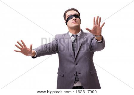 Blindfolded businessman isolated on white