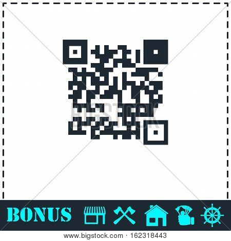 Qr code icon flat. Simple vector symbol and bonus icon