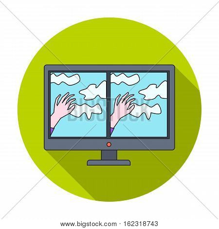 Virtual reality glasses overlay on monitor icon in flat style isolated on white background. Virtual reality symbol vector illustration.