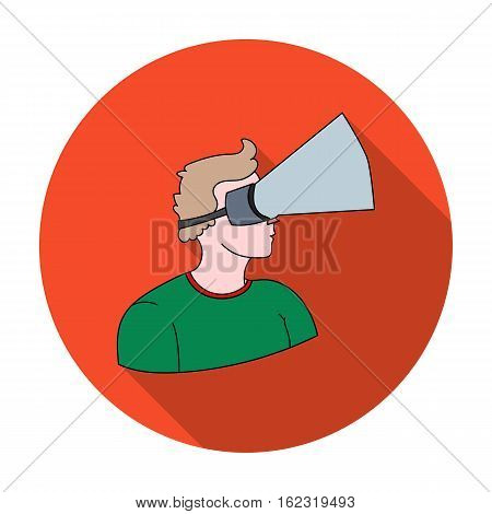 Player with virtual reality headflat icon in flat style isolated on white background. Virtual reality symbol vector illustration.