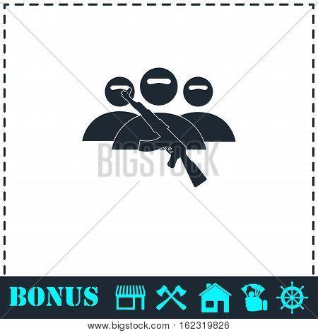 Terrorist balaclava mask icon flat. Simple vector symbol and bonus icon