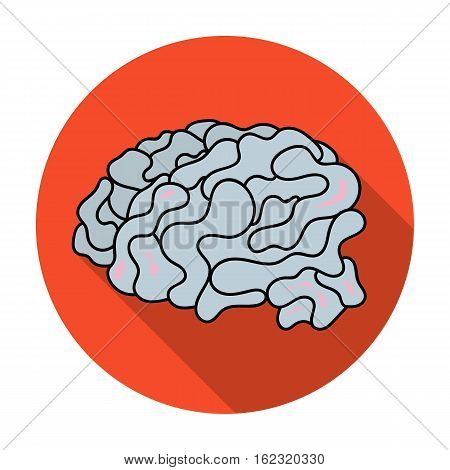 Brain in the virtual reality icon in flat style isolated on white background. Virtual reality symbol vector illustration.