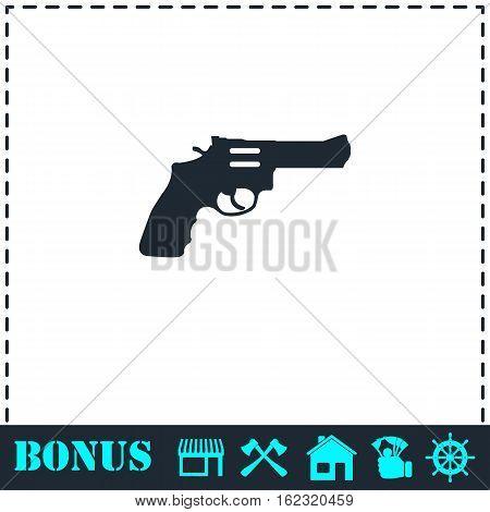 Revolver icon flat. Simple vector symbol and bonus icon