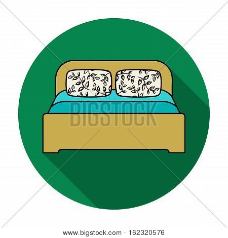 Wooden double bed icon in flat style isolated on white background. Furniture and home interior symbol vector illustration.