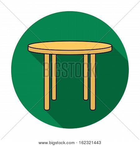 Wooden round table icon in flat style isolated on white background. Furniture and home symbol stock vector illustration.