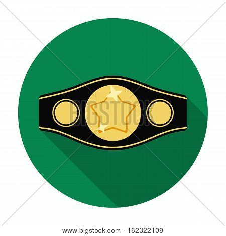 Boxing championship belt icon in flat style isolated on white background. Boxing symbol vector illustration.