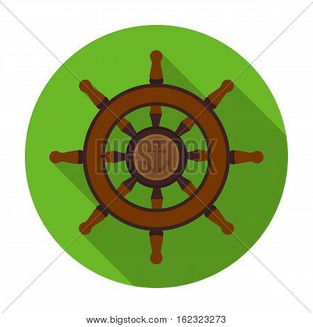 Wooden ship steering wheel icon in flat style isolated on white background. Pirates symbol vector illustration.