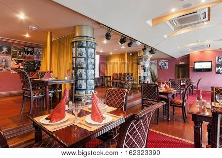 MOSCOW - JULY 2014: The interior of the restaurant