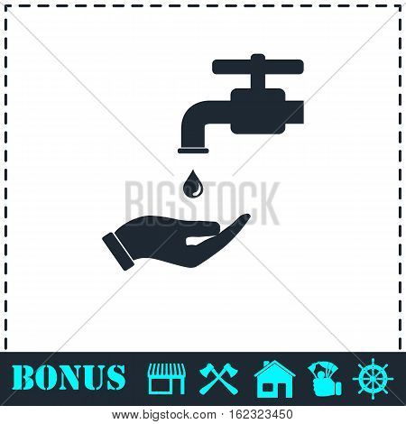 Wash your hands mandatory icon flat. Simple vector symbol and bonus icon