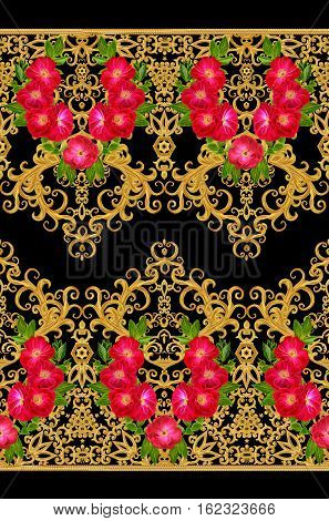 Pattern seamless floral border.Garland of flowers. Beautiful bright red rose buds. Golden curls shiny tracery weave. Vintage old background.