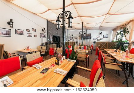 MOSCOW - JULY 2014: Interior of the modern pub restaurant in fusion style -