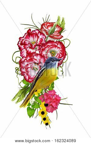 Flower arrangement bouquet. Bright red eustoma small pink crimson flowers green grass and leaves. Isolated on white background. Beautiful yellow bird sitting on a branch.