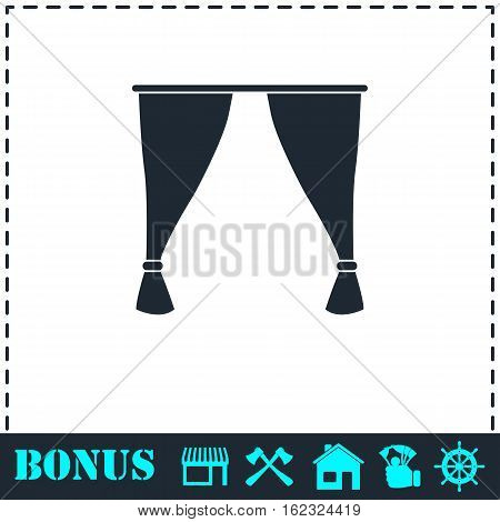 Curtain icon flat. Simple vector symbol and bonus icon