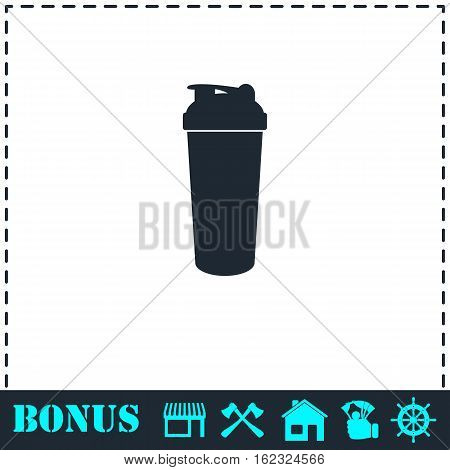 Cocktail shaker icon flat. Simple vector symbol and bonus icon