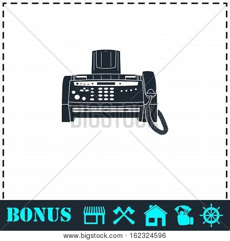 Fax machine icon flat. Simple vector symbol and bonus icon