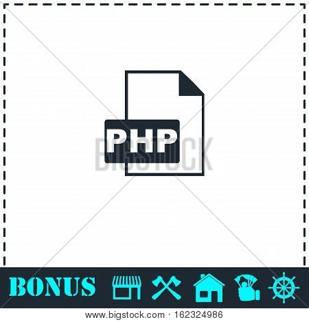 PHP File icon flat. Simple vector symbol and bonus icon