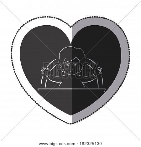 Jesus inside heart icon. Religion faith pray and belief theme. Isolated design. Vector illustration