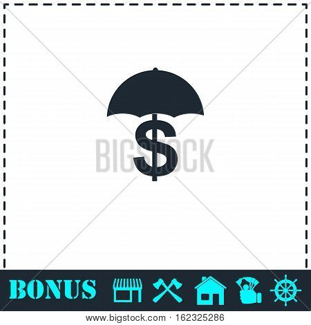 Preservation and protection money icon flat. Simple vector symbol and bonus icon