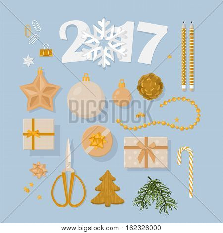 New Year 2017 Decorations Set  In Flat Modern Style. Ornaments And Gift Boxes  In Gold From Flat Lay