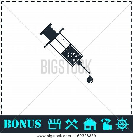 Vaccination icon flat. Simple vector symbol and bonus icon