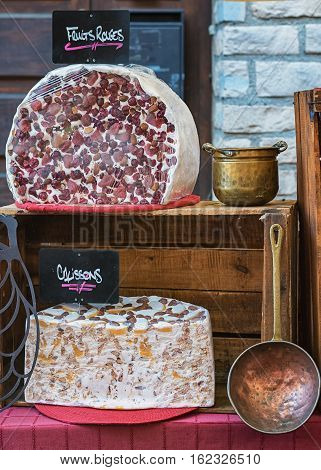 Nougat on the market in Vallon Pont d'Arc, France.