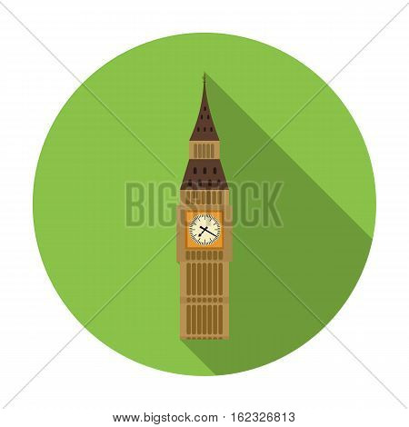 Big Ben icon in flat style isolated on white background. England country symbol vector illustration.