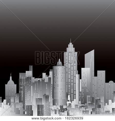 abstract city template, black and white layout with cityscape night